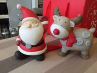 Ceramic Father Christmas and Rudolph