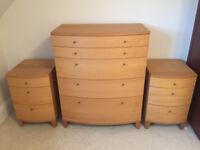 Bedroom Furniture Set - 1x Chest of Drawers & 2x Bedside Tables