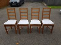 4 Ikea Solid Wood High Ladder Back Chairs FREE DELIVERY 112
