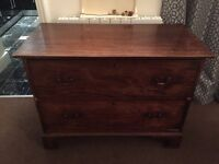 Old chunky wooden chest of drawers
