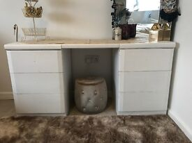 White Solid wood 6 drawer dressing table