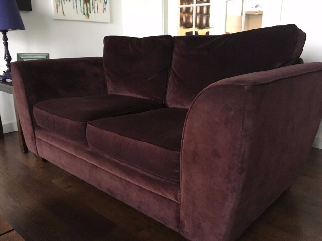Next Branded Dark Plum Antique Velvet Sofa 100 Delivered