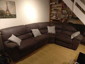 Amazing Almost New Sofa with Electric Recliners with stain cover + Matching Stool