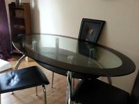 Oval Glass Dining Table w/ 4 chairs