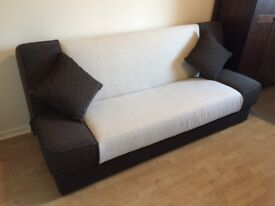 Sofa Bed - Cream and Brown - Clic Clac - Loads of Storage