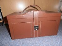 Unused Large brown leather look jewellery box with handle & travel case