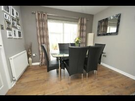 Harveys glass dining table and 6 leather chairs