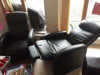 2x single leather sofa almost new