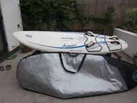 Fanatic Eagle 126 windsurfing board, complete with 2 sails, 2 part mast and wishbone.
