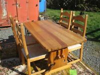 ORNATE SOLID PINE TABLE, SHAPED CORNERS, & 4 MATCHING UPHOLSTERED CHAIRS. VIEWING/DELIVERY AVAILABLE