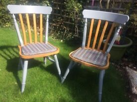 Painted solid beech quality chairs x 2 Extra Christmas seating