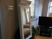 White french style shabby chic jewellery cabinet with 3 sets of battery lights