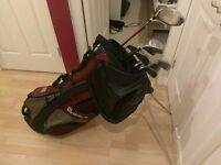 Golf bag, clubs, balls and glove