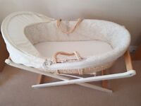 Mothercare Teddy Toy Box moses basket with stand & bedding