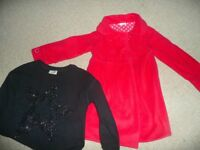 Next Red Coat and black sparkly star top