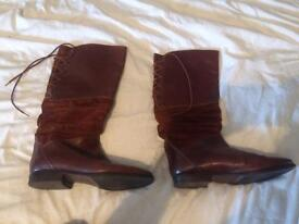 Bally Genuine brown leather and suede boots size 5