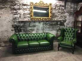 Vintage Green Leather Chesterfield Suite