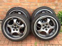 Porsche Split Rim Style Alloys and Tyres - 17 - 57.1mm - 5x100 - ET35- Grey - Fabia - Golf - Corrado