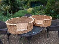Two wickerwork dog baskets
