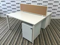 Steelcase Frameone Bench Desks White top and Frame