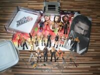 WWE WRESTLERS AND BUNDLE - 19 wrestlers, 2 rings, duvet set and poster, ETC - all Ex Cond