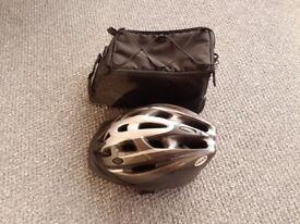 Bicycle back bag and safety helmet - unused.