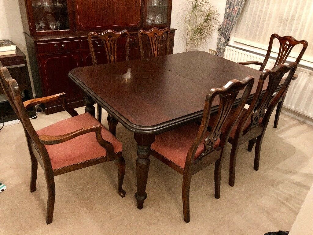 Extendable Dark Wood Dining Table 6 Chairs