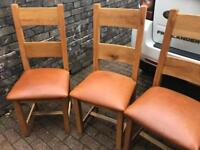 Oak dining chairs, recovered, not used