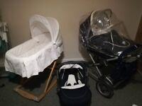 Silver Cross Sleepover Pram, Cradle, Car Seat, Raincover, Change Bag + extras