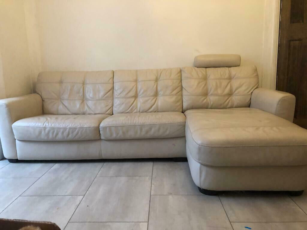 Awesome Large 3 Seater Cream Leather Corner Sofa Armchair And Footstool With Storage In Leigh On Sea Essex Gumtree Machost Co Dining Chair Design Ideas Machostcouk