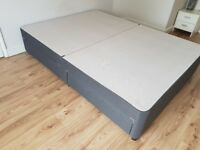 King size divan bed base with storage 4 drawers on castors, dark gray, good condition.