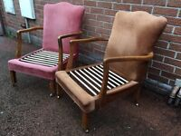 Matching Pair Of Vintage Armchairs - Vintage Bedroom Chairs - Vintage Nursing Chairs - Project
