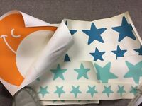 Moon, Cloud and Star Wall Decals (orange, turquoise & mint) - £10