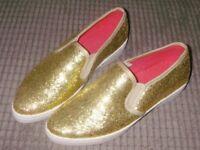 GOLD GLITTER SLIP ON ESPERELLS SIZE UK6/EUR 38 NEW