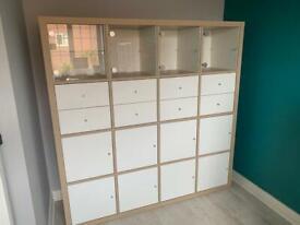 Ikea Kallax Storage Unit with Inserts - White/Oak