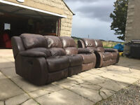 3+2 dark brown leather recliners DELIVERY AVAILABLE