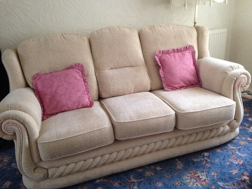 Fabric 3 Piece Suite 3 Seater Sofa Amp 2 Armchairs