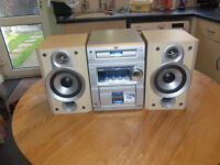 jvc midi hi fi cd player radio 50 watts good sound system.has cassette player,with remote control.