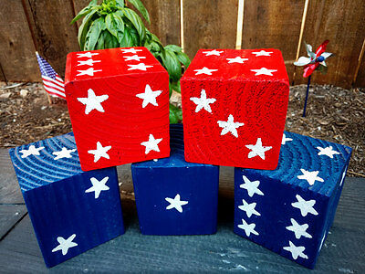 1 Jumbo Red or Blue JULY 4th Lawn Yard DICE w/ Stars - Yahtzee,Bunco,Home Decor