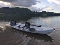 Galaxy Tandem Sit-on-Top kayak in white. Fully kitted, ready to go