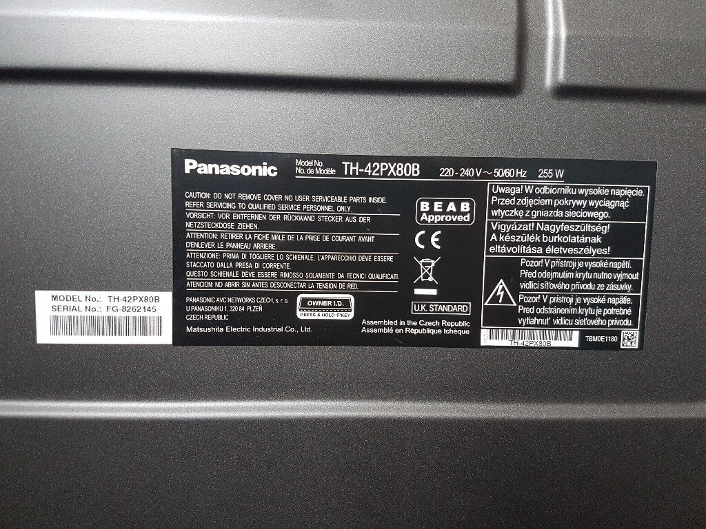 42 Widescreen Hd Plasma Tv Panasonic Th 42px80b With Freeview