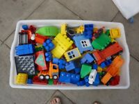 Box of Assorted Duplo bricks