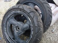 for sale 2 set whels with tyres sise 120 /70, 12 /51l very good condition
