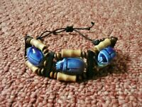 Egyptian 3 Blue Ceramic Scarab Beetle and Wooden Bead / Beaded Bracelet from Egypt