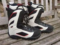 BNIB O-THREE Men's Black/White/Red Boa Lace Fast Snowboarding Boots UK8 EU42