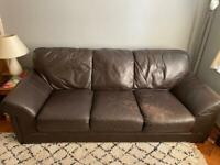 3 seater brown real leather sofa for sale
