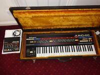 Mint Vintage Roland Juno 60 Polyphonic Synthesiser, JSQ-60 sequencer & Flight Case