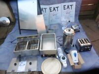 CATERING EQUIPMENT BUFFALO DOUBLE FRYER & WATER HEATER,TOASTER,MENU SIGNS ETC