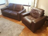 Brown leather 2 seat sofa and matching chair