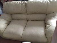 2+3 cream leather sofas £100